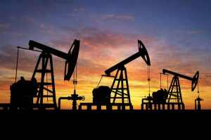 Oil pumps at sunset